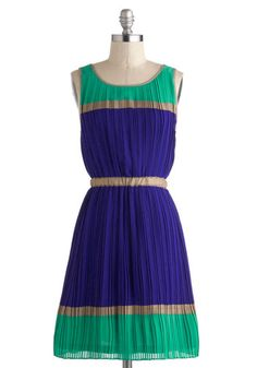 Title Wave Dress - Blue, Pleats, A-line, Sleeveless, Colorblocking, Mid-length, Green, Gold, Party