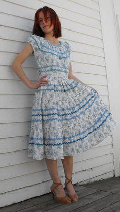 Circle Country Skirt Black Ric Rac Full Vintage Square Dance S