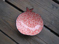 Pomegranate Jewelry Dish  Ceramics and Pottery  Red by WhiteCitrus