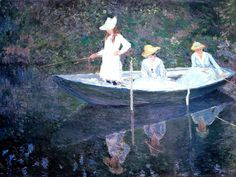 Клод Моне - In the Norvegienne Boat at Giverny, 1887. Клод Оскар Моне
