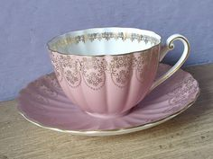 Shelley bone pink and gold tea cup set