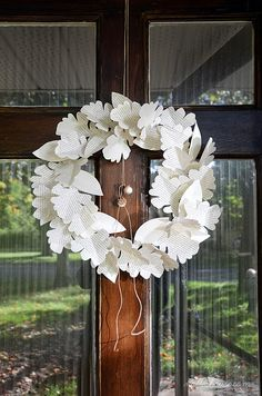 DIY Book Page Leaf Wreath - made with items you may already have around the house!