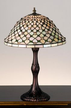 Meyda Tiffany Stained Glass / Tiffany Accent Table Lamp from the Diamond & Jewel Collection (Very soft & pretty)