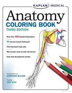 This free Anatomy Coloring Book has more than 450 detailed illustrations, fill-in-the-blank study aids, microscopic views of cells and tissues, and more.