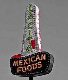 Neon La Cita's sign on Route 66, Tucumcari, New Mexico.