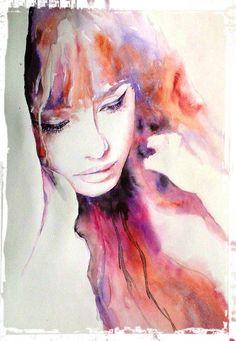 """She may be weary.  Women  do get weary,  Wearing the same old shabby dress  When she gets weary,   Try a little tenderness...""  Astonishing watercolors  ~  by  LORETANA. ""Tenderness"" by  (DeviantArt)"