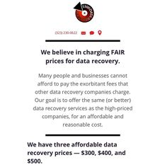 Data recovery has never been easier. Webelieve in charging FAIR prices for data recover. --- #StudioCity #300DollarDataRecovery #LosAngeles #Yelp #HardDrive #DataRecovery