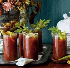 Bloody Mary Punch - Festive Drinks for Christmas Brunch - Southernliving. Recipe: Bloody Mary Punch Instead of stirring all the ingredients together, serve optional shots of vodka on the side, and let your guests add it or not. Make Ahead Breakfast Casserole, Breakfast Recipes, Breakfast Dishes, Breakfast Ideas, Morning Breakfast, Brunch Ideas, Eat Breakfast, Cooking For A Crowd, Food For A Crowd