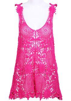 Camiseta tirante encaje hueca-Rosa EUR€14.33