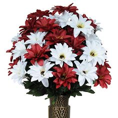 Red and White Dahlias Artificial Bouquet featuring the StayInTheVase Designc Flower Holder MD1304 * This is an Amazon Affiliate link. To view further for this item, visit the image link.