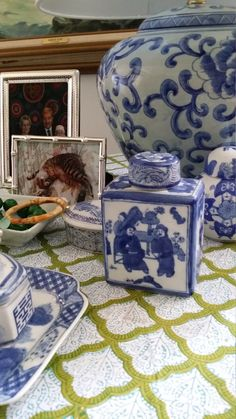 Chinese blue and white square porcelain jar and by Preppypagoda, $45.00