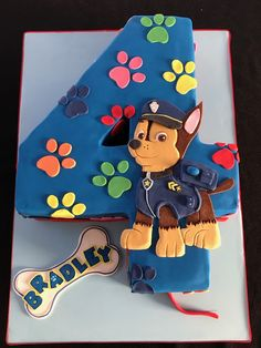 Chase is on the case on this fun Paw Patrol number 4 cake. Chocolate mud cake with vanilla buttercream and dark chocolate ganache! Paw Patrol Chase Cake, Torta Paw Patrol, Paw Patrol Party, Paw Patrol Birthday, Bithday Cake, 4th Birthday Cakes, 4th Birthday Parties, Chocolate Mud Cake, Chocolate Ganache
