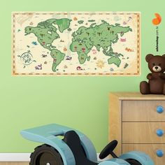 "Adesivo Decorativo ""Mapa Mundi"" - Papel de Parede e Adesivos Decorativos - AdsiveShop"