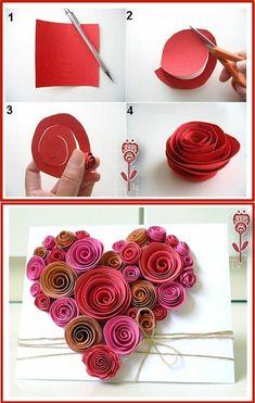 Herzkarte mit Rosen
