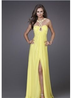 Sexy Beaded Split-Front Straps A line Floor-Length Prom Dresses  $75.19
