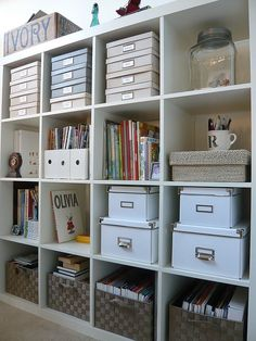Craft Room storage with IKEA Expedit shelves. Bookcase Organization, Home Office Organization, Craft Organization, Craft Storage, Office Decor, Organized Office, Office Ideas, Organize Bookshelf, Office Storage Ideas