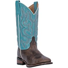 "Laredo Womens Brown Leather Mesquite Gaucho 11"""" Square Toe Cowboy Boots"