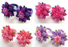 Flores de tela Kanzashi. Juego de 2 soportes de cola de