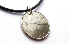 Croatian necklace, Fish necklace, Fox necklace, Coin necklace, Nautical necklace, Tuna, Fish, Yugoslavian, Pendant, Coin jewelry, 2011