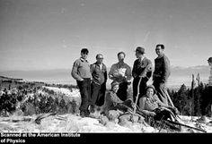 Emilio Segrè, Enrico Fermi, Hans Bethe, H.H. Staub, Victor Weisskopf, Erika Staub and Elfriede Segrè on a Sunday Hike