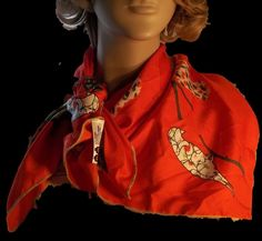 Colorful Calico Look Birds on Red Scarf Versatile Size 28 Inches #EnoraJaquin #Scarf