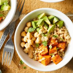 This easy grain bowl has so much to love--sweet potatoes, protein-packed chickpeas, creamy avocado and homemade tahini dressing. Make the full recipe on the weekend and pack into individual serving containers for ready-to-go lunches for work all week.