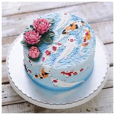 Hand painted koi fish buttercream cake