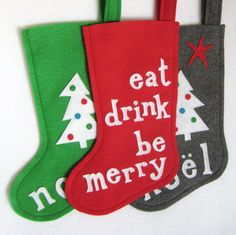 Christmas Stocking  Eat Drink Be Merry by stitcholicious on Etsy