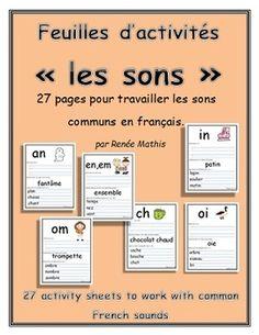 Voici une série de 27 feuilles d'activités pour faciliter l'apprentissage des sons communs en français. Chaque feuille d'activité inclue un son, une image et des mot.  Les sons suivants sont inclus avec achat : - ch - ou - ui - en, em - an - au - eau - in - om - ein - oi - on - eur - gu - gn - ai - ei - er - qu - ille - ail - eille - euille - ouille - ien - illon - oeu   -th  Imprimer les fiches sur du papier épais et les laminer pour durabilité.