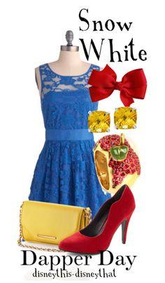 Disney Princess-inspired Fashion. Snow White. Reds, dark blues, yellows, with apples.