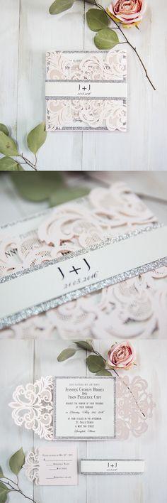 super romantci silver glittered blush pink laser cut wedding invites