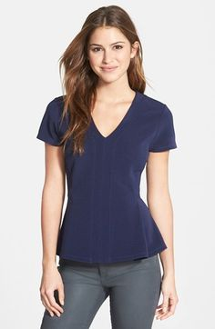 Free shipping and returns on Halogen® Ottoman Knit V-Neck Peplum Top (Regular & Petite) at Nordstrom.com. Careful seaming creates the flattering, ultrafeminine fit of a V-neck top textured with ottoman ribbing. Dainty cap sleeves balance the flared peplum hem for a style that looks as good with a pencil skirt as it does with your favorite jeans.