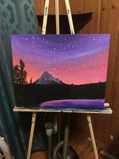 Mountains among stars by Terristerrificpaints on Etsy – Malerei Simple Canvas Paintings, Easy Canvas Art, Small Canvas Art, Mini Canvas Art, Easy Canvas Painting, Easy Paintings, Diy Painting, Gouache Painting, Watercolor Art