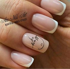 Give life to your nude nails by adding white polish on the tips with flower details on them French Nails, Nail Manicure, Manicures, Cute Nails, Pretty Nails, Pink Nails, My Nails, Nail Swag, Nagel Gel