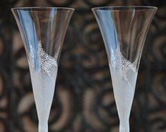 Wedding champagne glasses hand decorated with by PureBeautyArt