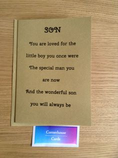 Card for grown up son, special sons birthday by CornerhouseCards on Etsy
