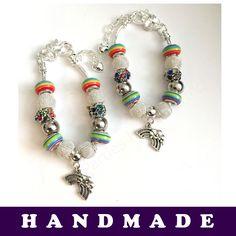 Rainbow Coloured European Style Charm Bracelet With Tibetan Silver Rainbow Charm | eBay