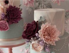 Pretty breath of Spring on a grey November day! Unique Cakes, Edible Art, Wedding Cakes, November, Grey, Spring, Decor, Wedding Gown Cakes, Ash
