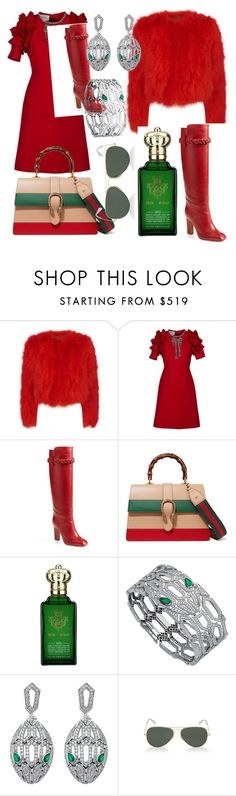 """Untitled #150"" by lore8dana on Polyvore featuring Alexander McQueen, Gucci, Valentino, Clive Christian, Bulgari and Ray-Ban"