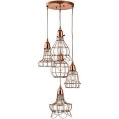 Copper 5 Light Wire Pendant