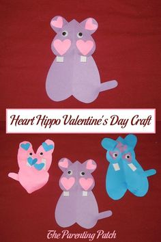 Learn how to make a heart-inspired hippopotamus craft for Valentine's Day using purple, pink, and blue construction paper and wiggle eyes. via @ParentingPatch