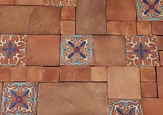 mexican stenciled tiles | Mexican Tiled Floors with decoration (Saltillo Tiles)