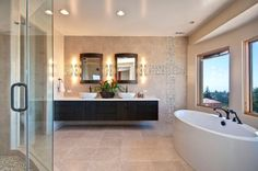 Elegant modern master bathroom with warm colors and floating cabinet 27 Floating Sink Cabinets and Bathroom Vanity Ideas
