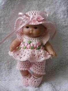 Crochet pattern for Berenguer 5 inch baby doll - dress, shorts, hat and shoe set Crochet pattern for Berenguer 5 inch baby doll von petitedolls Baby Doll Clothes, Crochet Doll Clothes, Crochet Dolls, Baby Dolls, Fingerless Gloves Crochet Pattern, Doll Carrier, Baby Doll Accessories, Doll Dress Patterns, Little Doll