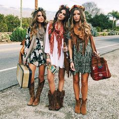 Modern hippie gypsies with boho chic scarves and cowboy boots. For the best BOHEMIAN fashion style FOLLOW https://www.pinterest.com/happygolicky/the-best-boho-chic-fashion-bohemian-jewelry-gypsy-/ now.
