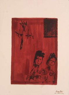 Women who believe in the God of miracles Ink on shimmed paper, 1984, 77x57 cm