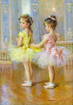 Konstantin Razumov Russian, Oil on canvas, 'Two girls in tutus preparing for the ballet lesson', signed low. on Jun 2019 Classic Paintings, Paintings I Love, Beautiful Paintings, Ballet Posters, Oil On Canvas, Canvas Art, Ballet Art, Russian Painting, Pretty Art