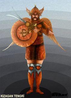 """TANRI KIZAGAN Ülgen'in oğludur. Göğün 9. katında oturur. Çok kuvvetli tanrı anlamına da gelir. Roux'a göre 9. Kat Mars'ın konumlandırıldığı gök katıdır. Kızagan Tanrı, Banzarov'a göre, savaş tanrısıdır. Onlarca tehlikeli geçitlerde orduyu yönetmek ve düşmanı yenmekte, bu koruyucu ruhun yardımı olur. Altay Kamı göğe çıkarken Kızagan Tanrı'yı """"Kırmızı yularlı, kızıl erkek deve sırtında, gökkuşağı asalı baba!"""" diye çağırır. Buna bakarak, onun kırmızı renk ile simgelendiği sanılmaktadır…"""