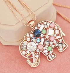 Teen fashion jewelry elephant pendant necklace
