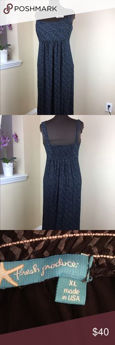 """Fresh Produce Maxi Dress XL Fresh Produce Maxi Dress Size: XL Color: Black and Gray Design: Geometric Neckline: Scoop  Sleeves: Sleeveless  Materials: Rayon, Lycra  Measurements in inches (approximate, taken laying flat) Bust: 18"""" Length: 53"""" (strap - hem)  Condition: Gently pre-owned Fresh Produce Dresses Maxi"""